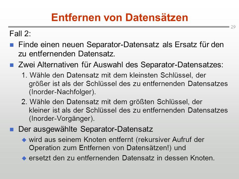29 Fall 2: Finde einen neuen Separator-Datensatz als Ersatz für den zu entfernenden Datensatz. Zwei Alternativen für Auswahl des Separator-Datensatzes