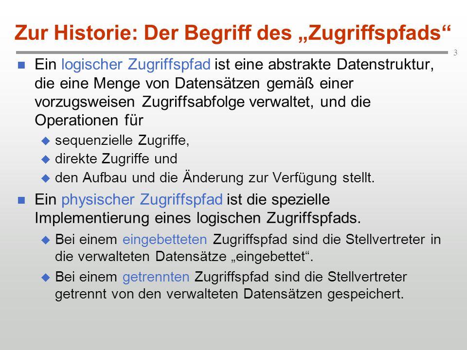 """4 Beispiel: Schlüsselsequentielle Organisation der physischen Dateiverwaltung Zur Historie: Der Begriff des """"Zugriffspfads eingebetteter Zugriffspfad (Primär-/Sekundärdaten) Primärdaten getrennter Zugriffspfad (Sekundärdaten)"""