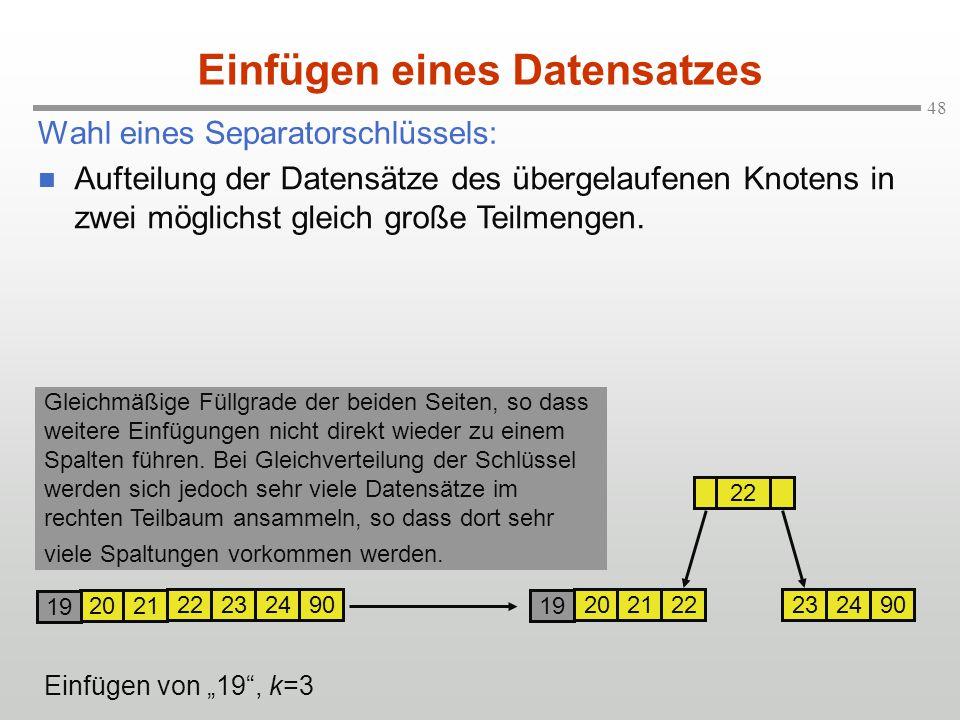 """48 Wahl eines Separatorschlüssels: Einfügen eines Datensatzes 2021 22232490 19 2021 22232490 22 19 Einfügen von """"19"""", k=3 Aufteilung der Datensätze de"""