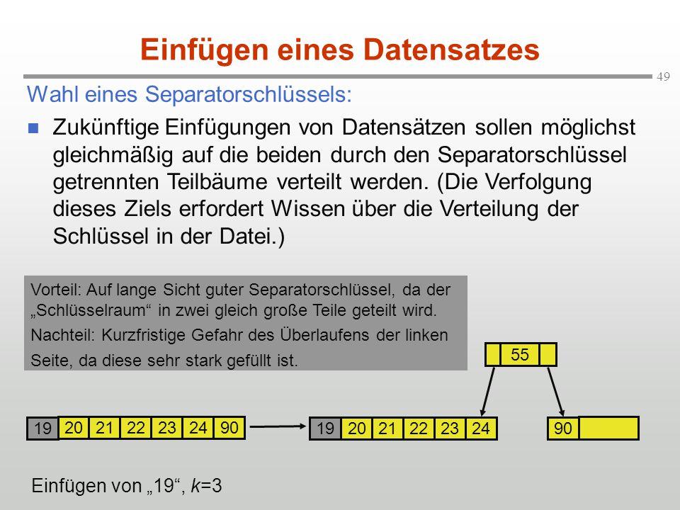 """49 Wahl eines Separatorschlüssels: Einfügen eines Datensatzes Einfügen von """"19"""", k=3 2021 22232490 2021 222324 90 55 19 Zukünftige Einfügungen von Dat"""