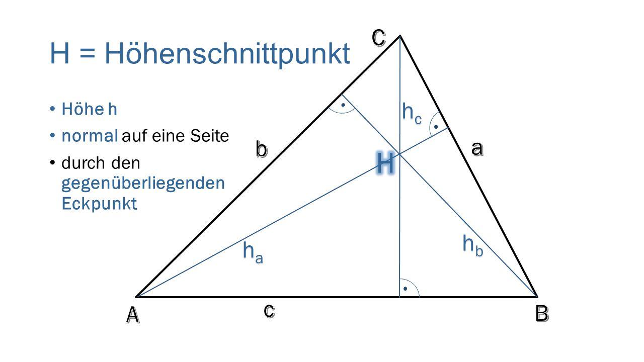 H = Höhenschnittpunkt Höhe h normal auf eine Seite durch den gegenüberliegenden Eckpunkt hchchchc hahahaha hbhbhbhb