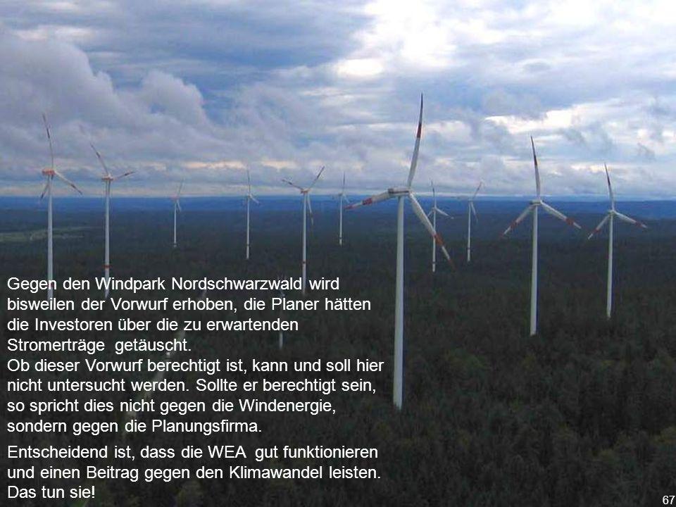 67 Gegen den Windpark Nordschwarzwald wird bisweilen der Vorwurf erhoben, die Planer hätten die Investoren über die zu erwartenden Stromerträge getäuscht.