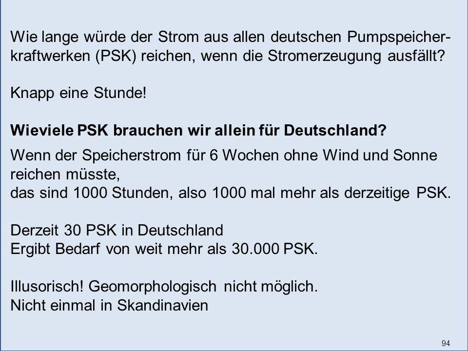 94 Wie lange würde der Strom aus allen deutschen Pumpspeicher- kraftwerken (PSK) reichen, wenn die Stromerzeugung ausfällt.