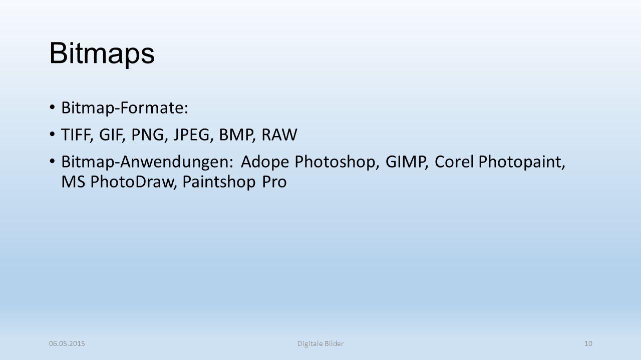 Bitmap-Formate: TIFF, GIF, PNG, JPEG, BMP, RAW Bitmap-Anwendungen: Adope Photoshop, GIMP, Corel Photopaint, MS PhotoDraw, Paintshop Pro 06.05.2015Digitale Bilder10