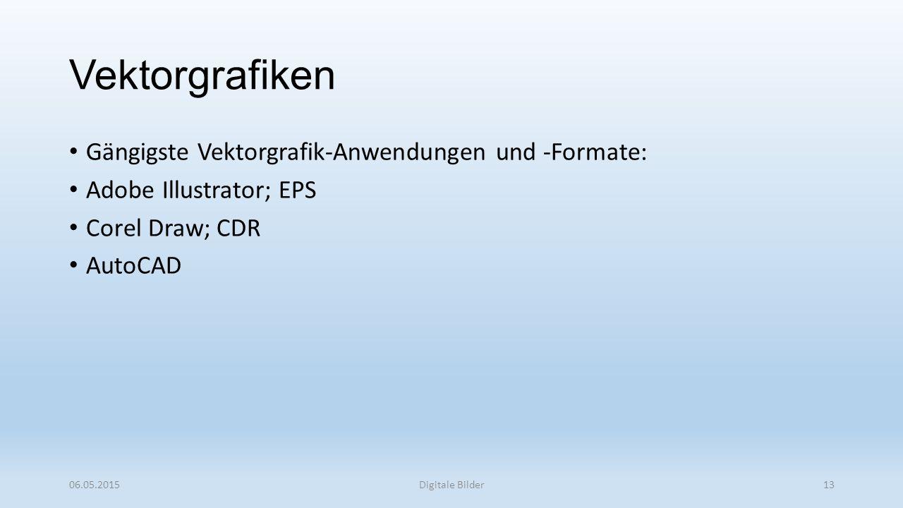 Gängigste Vektorgrafik-Anwendungen und -Formate: Adobe Illustrator; EPS Corel Draw; CDR AutoCAD 06.05.2015Digitale Bilder13