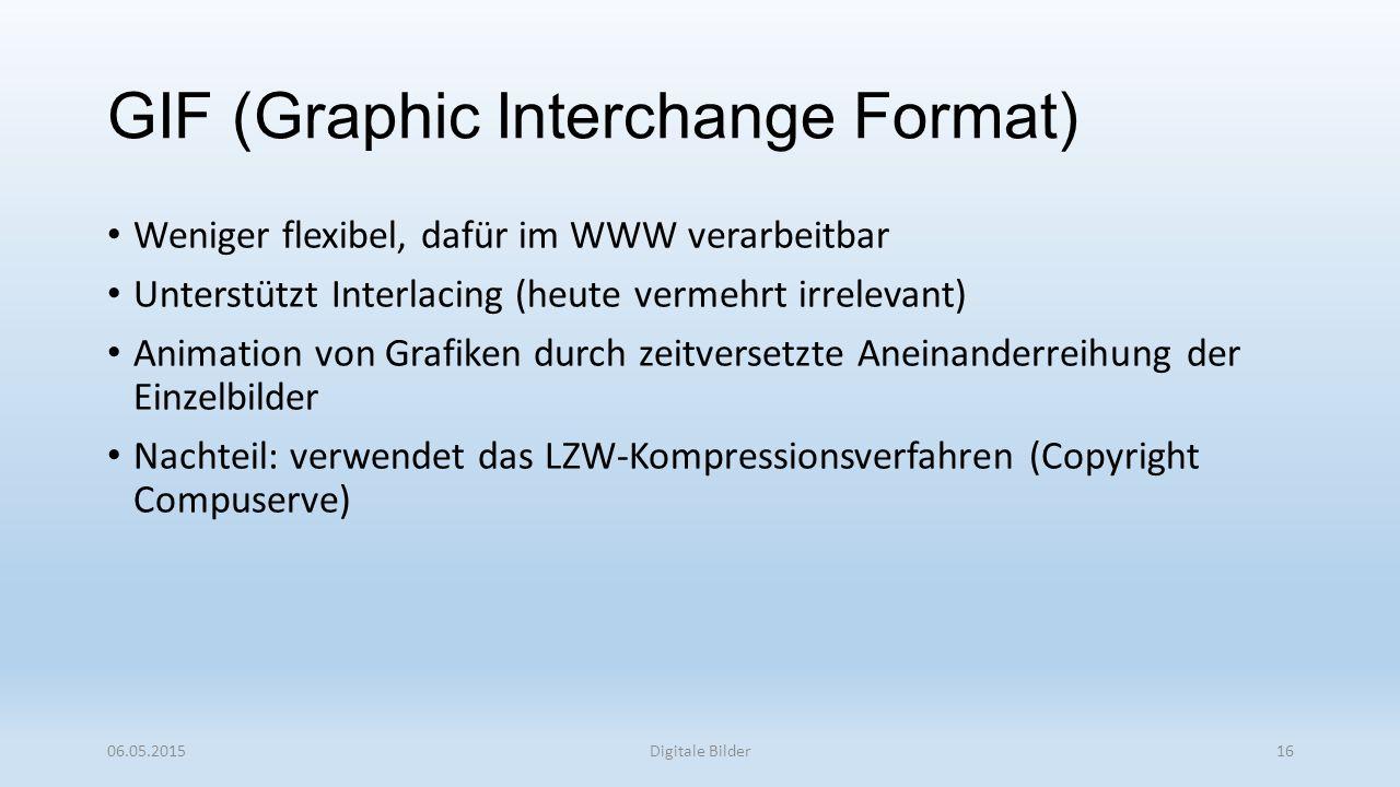 GIF (Graphic Interchange Format) Weniger flexibel, dafür im WWW verarbeitbar Unterstützt Interlacing (heute vermehrt irrelevant) Animation von Grafiken durch zeitversetzte Aneinanderreihung der Einzelbilder Nachteil: verwendet das LZW-Kompressionsverfahren (Copyright Compuserve) 06.05.2015Digitale Bilder16