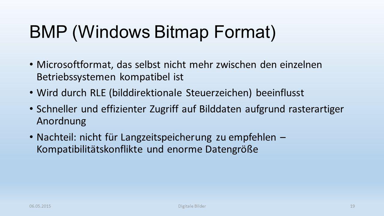 BMP (Windows Bitmap Format) Microsoftformat, das selbst nicht mehr zwischen den einzelnen Betriebssystemen kompatibel ist Wird durch RLE (bilddirektionale Steuerzeichen) beeinflusst Schneller und effizienter Zugriff auf Bilddaten aufgrund rasterartiger Anordnung Nachteil: nicht für Langzeitspeicherung zu empfehlen – Kompatibilitätskonflikte und enorme Datengröße 06.05.2015Digitale Bilder19
