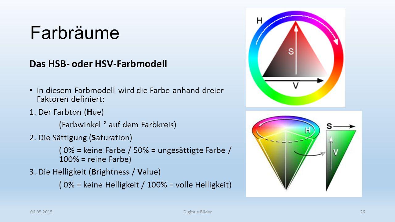 Farbräume Das HSB- oder HSV-Farbmodell In diesem Farbmodell wird die Farbe anhand dreier Faktoren definiert: 1.
