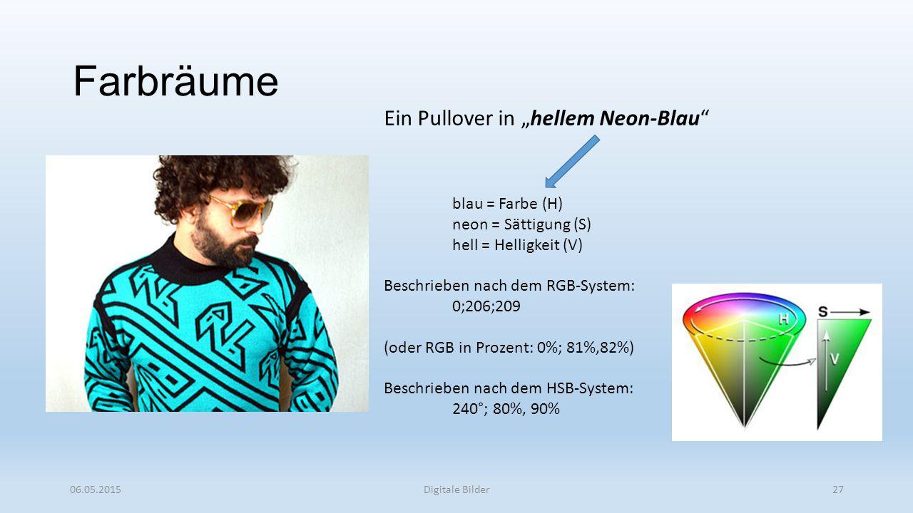 """Farbräume 06.05.2015Digitale Bilder27 Ein Pullover in """"hellem Neon-Blau blau = Farbe (H) neon = Sättigung (S) hell = Helligkeit (V) Beschrieben nach dem RGB-System: 0;206;209 (oder RGB in Prozent: 0%; 81%,82%) Beschrieben nach dem HSB-System: 240°; 80%, 90%"""