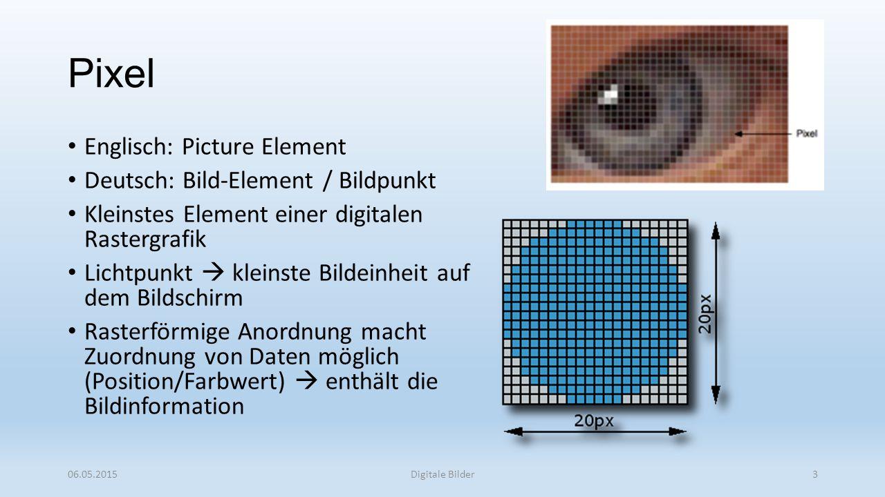 Pixel Englisch: Picture Element Deutsch: Bild-Element / Bildpunkt Kleinstes Element einer digitalen Rastergrafik Lichtpunkt  kleinste Bildeinheit auf dem Bildschirm Rasterförmige Anordnung macht Zuordnung von Daten möglich (Position/Farbwert)  enthält die Bildinformation 06.05.2015Digitale Bilder3