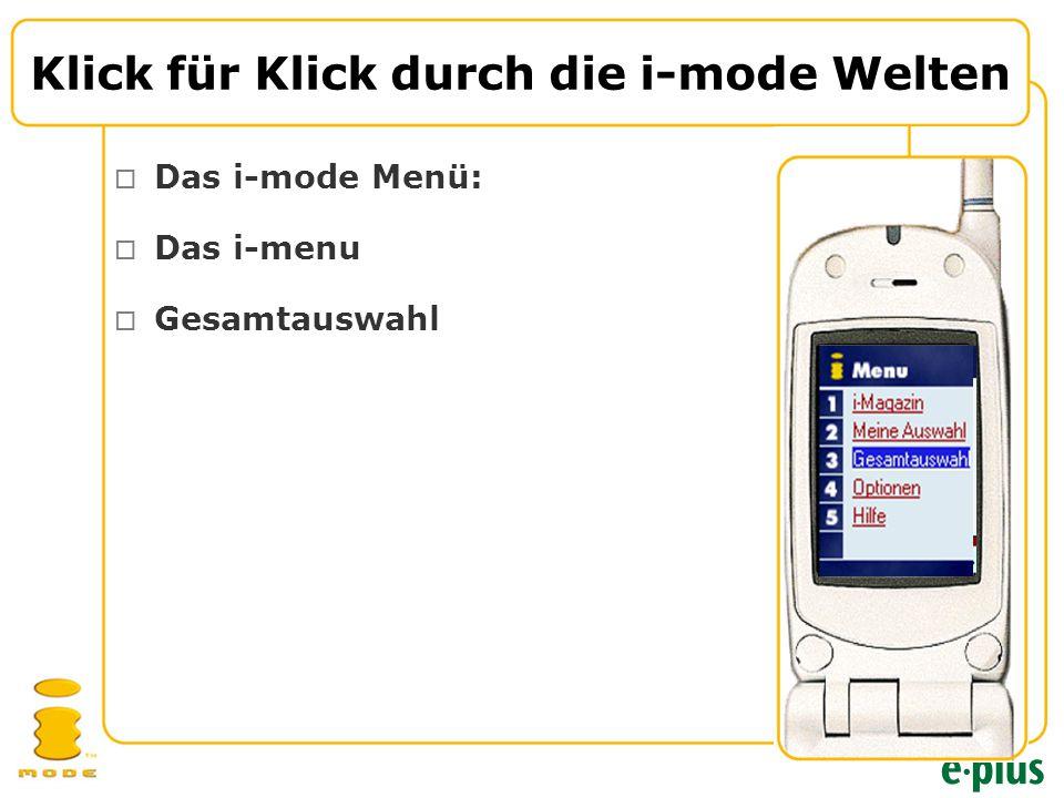 Klick für Klick durch die i-mode Welten  Das i-mode Menü:  Das i-menu  Gesamtauswahl