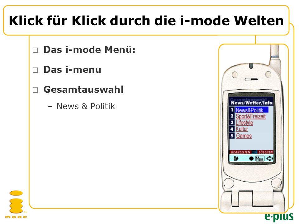  Das i-mode Menü:  Das i-menu  Gesamtauswahl –News & Politik Klick für Klick durch die i-mode Welten
