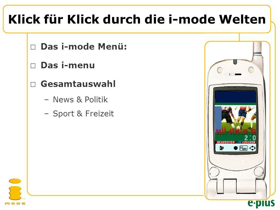  Das i-mode Menü:  Das i-menu  Gesamtauswahl –News & Politik –Sport & Freizeit Klick für Klick durch die i-mode Welten