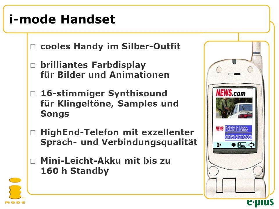 i-mode Handset  cooles Handy im Silber-Outfit  brilliantes Farbdisplay für Bilder und Animationen  16-stimmiger Synthisound für Klingeltöne, Samples und Songs  HighEnd-Telefon mit exzellenter Sprach- und Verbindungsqualität  Mini-Leicht-Akku mit bis zu 160 h Standby