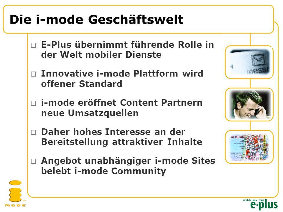 Die i-mode Geschäftswelt  E-Plus übernimmt führende Rolle in der Welt mobiler Dienste  Innovative i-mode Plattform wird offener Standard  i-mode eröffnet Content Partnern neue Umsatzquellen  Daher hohes Interesse an der Bereitstellung attraktiver Inhalte  Angebot unabhängiger i-mode Sites belebt i-mode Community