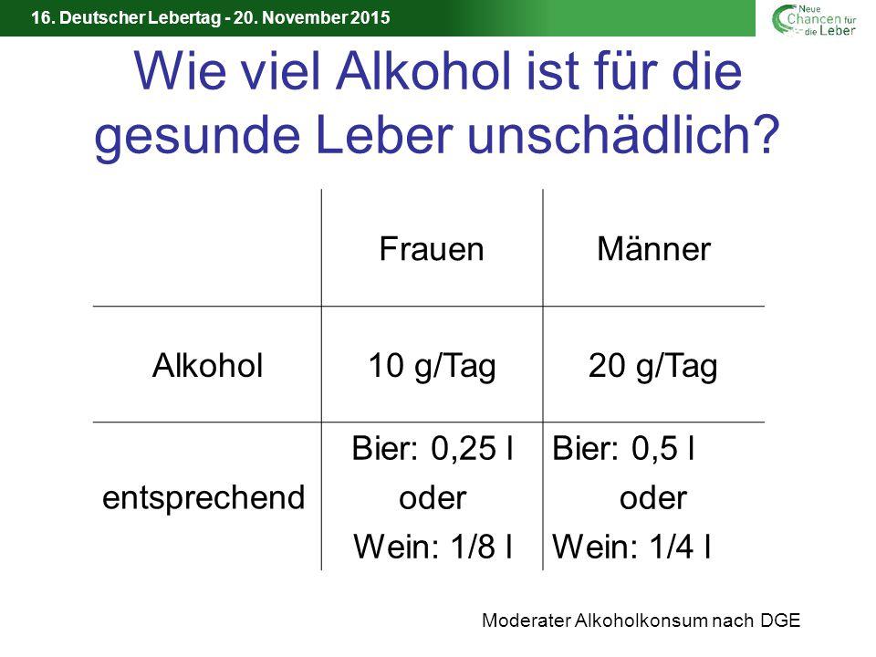 16.Deutscher Lebertag - 20. November 2015 Wie viel Alkohol ist für die gesunde Leber unschädlich.