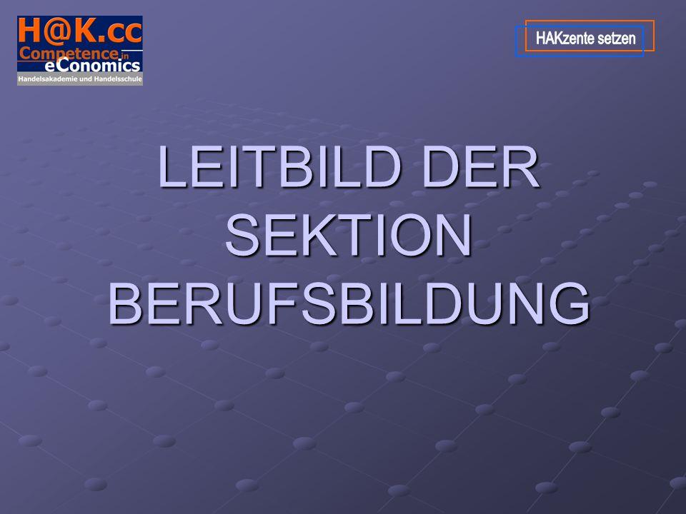 LEITBILD DER SEKTION BERUFSBILDUNG