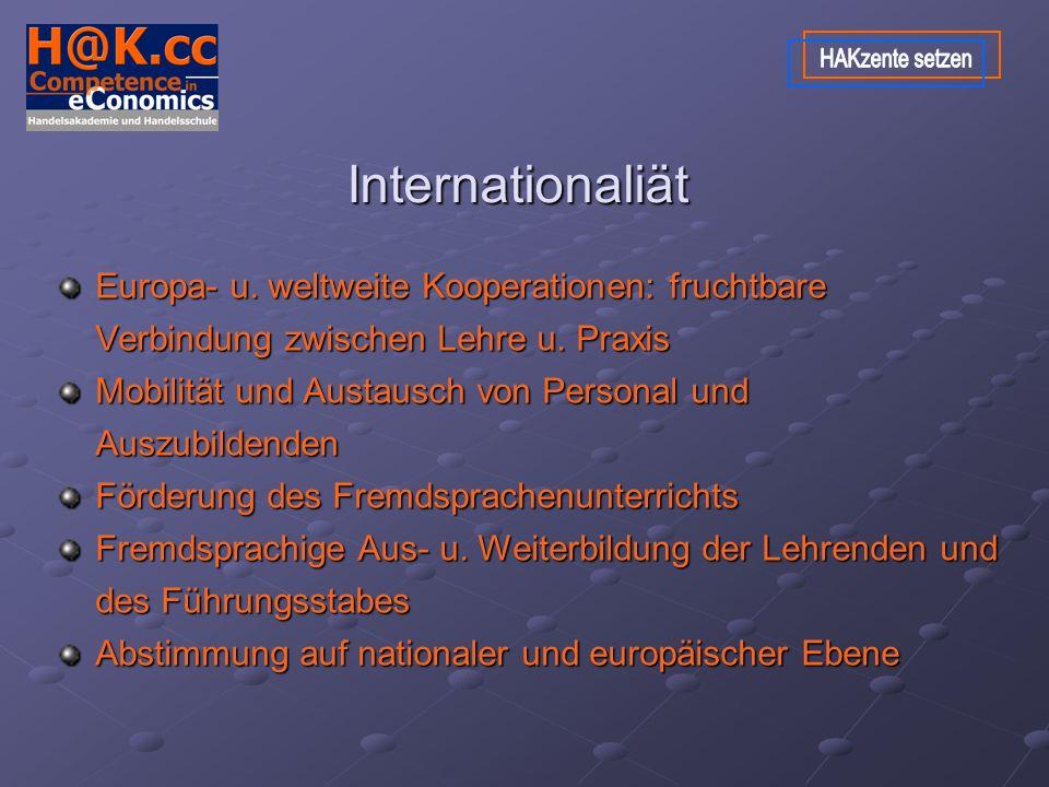 Internationaliät Europa- u. weltweite Kooperationen: fruchtbare Verbindung zwischen Lehre u.