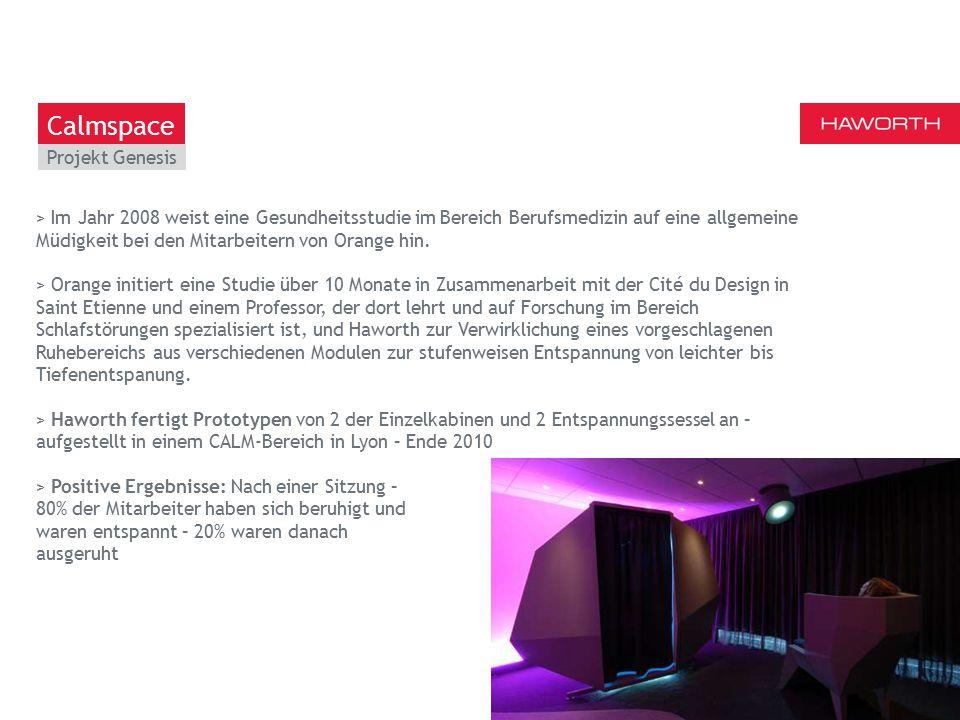 March 13th 2014 | Berlin Projekt Genesis 11 Calmspace > Im Jahr 2008 weist eine Gesundheitsstudie im Bereich Berufsmedizin auf eine allgemeine Müdigkeit bei den Mitarbeitern von Orange hin.