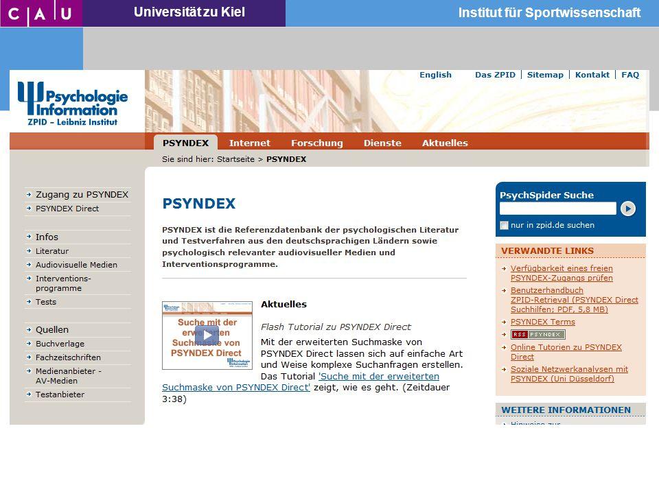 Universität zu Kiel Institut für Sportwissenschaft