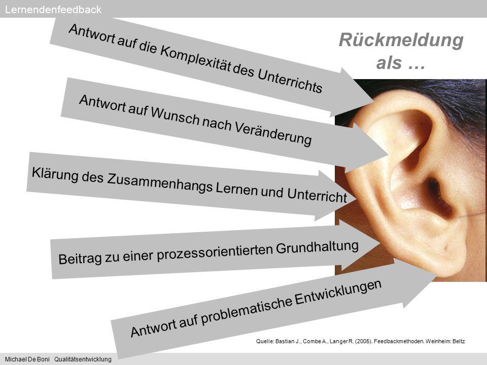 Lernendenfeedback Antwort auf die Komplexität des Unterrichts Rückmeldung als … Quelle: Bastian J., Combe A., Langer R. (2005). Feedbackmethoden. Wein