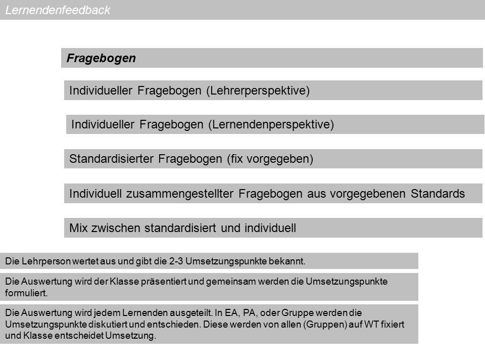 Lernendenfeedback Individueller Fragebogen (Lehrerperspektive) Fragebogen Individueller Fragebogen (Lernendenperspektive) Standardisierter Fragebogen