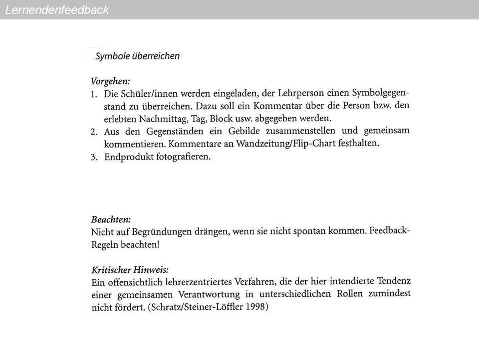 Feedback mündlich einholen (Klassengespräch) Klassengespräch: Die Beiträge werden von der Lehrperson fixiert (HP, WT, Flipchart).