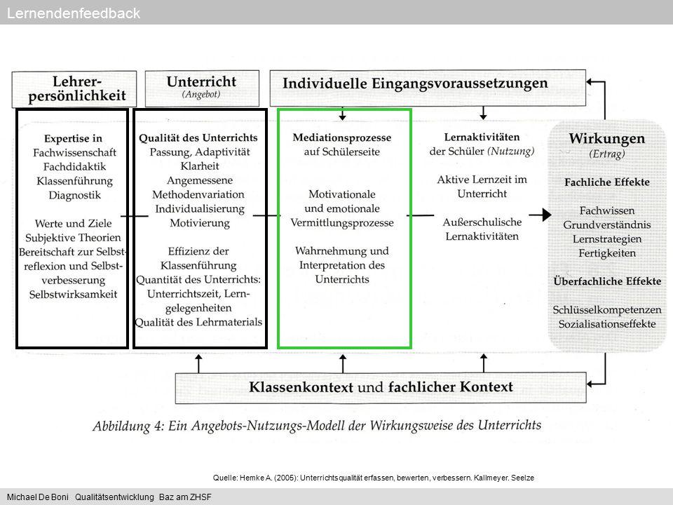 Quelle: Hemke A. (2005): Unterrichtsqualität erfassen, bewerten, verbessern. Kallmeyer. Seelze Lernendenfeedback Michael De Boni Qualitätsentwicklung