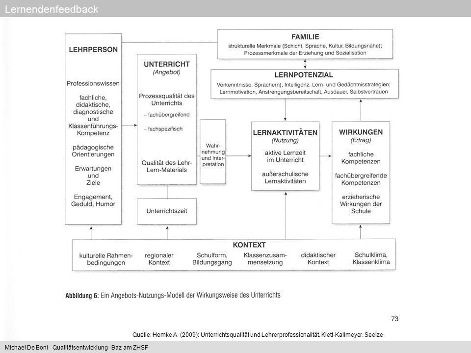 Quelle: Hemke A. (2009): Unterrichtsqualität und Lehrerprofessionalität. Klett-Kallmeyer. Seelze Lernendenfeedback Michael De Boni Qualitätsentwicklun
