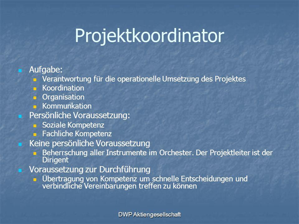 DWP Aktiengesellschaft Projektkoordinator Aufgabe: Verantwortung für die operationelle Umsetzung des Projektes Koordination Organisation Kommunkation