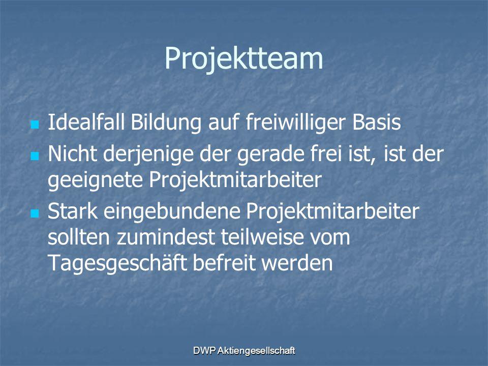 DWP Aktiengesellschaft Projektteam Idealfall Bildung auf freiwilliger Basis Nicht derjenige der gerade frei ist, ist der geeignete Projektmitarbeiter