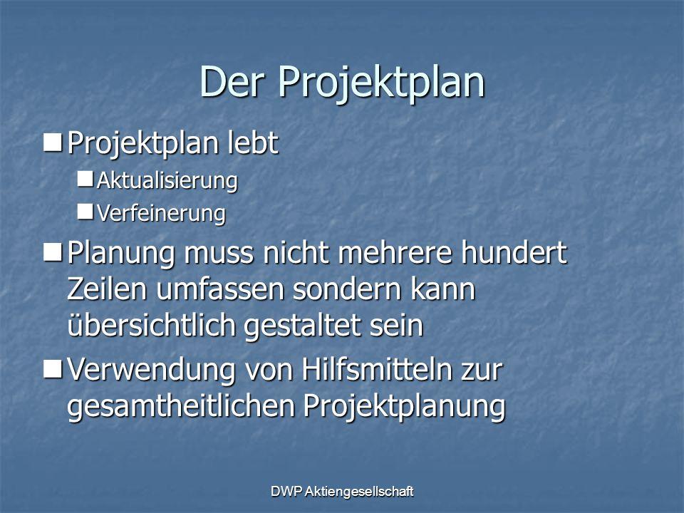 DWP Aktiengesellschaft Der Projektplan Projektplan lebt Projektplan lebt Aktualisierung Aktualisierung Verfeinerung Verfeinerung Planung muss nicht me
