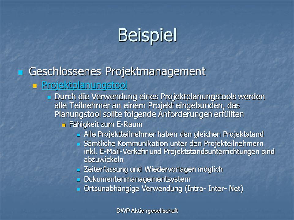 DWP Aktiengesellschaft Beispiel Geschlossenes Projektmanagement Geschlossenes Projektmanagement Projektplanungstool Projektplanungstool Projektplanung