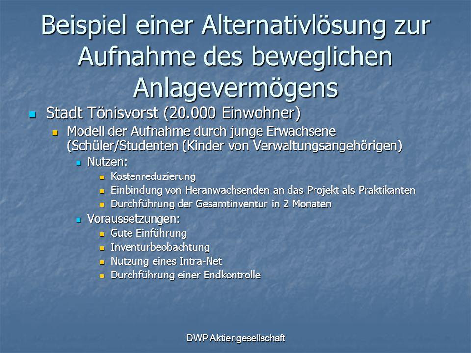 DWP Aktiengesellschaft Beispiel einer Alternativlösung zur Aufnahme des beweglichen Anlagevermögens Stadt Tönisvorst (20.000 Einwohner) Stadt Tönisvor