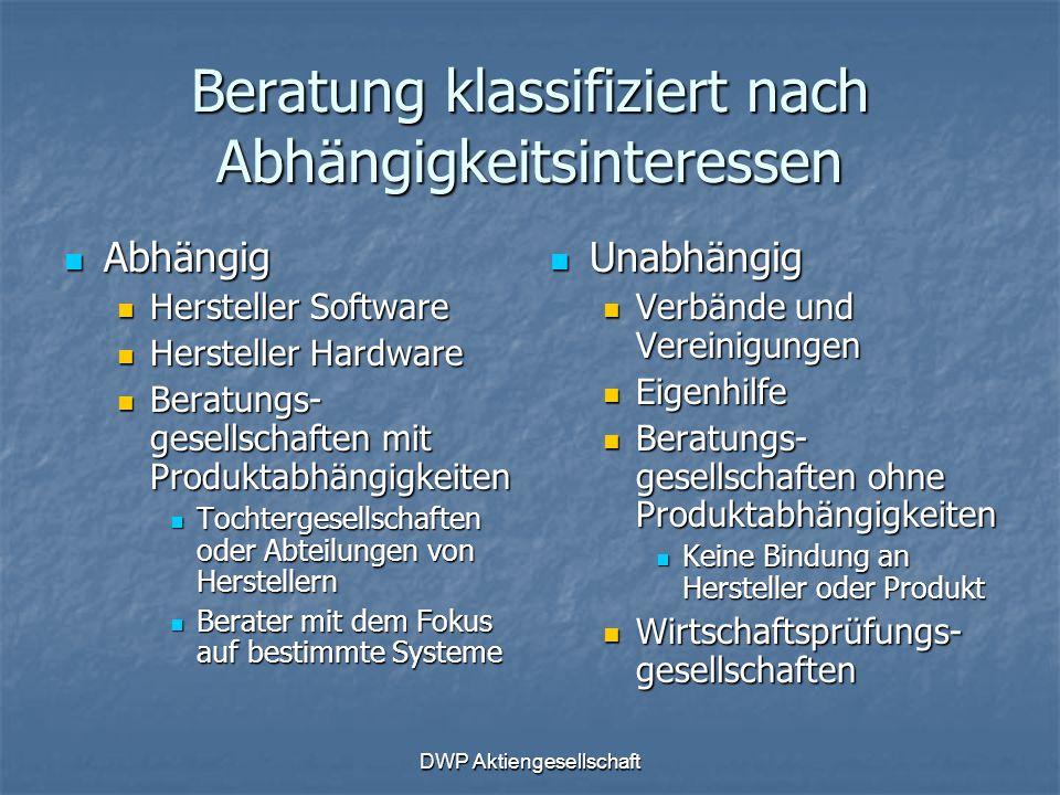 DWP Aktiengesellschaft Beratung klassifiziert nach Abhängigkeitsinteressen Abhängig Abhängig Hersteller Software Hersteller Software Hersteller Hardwa