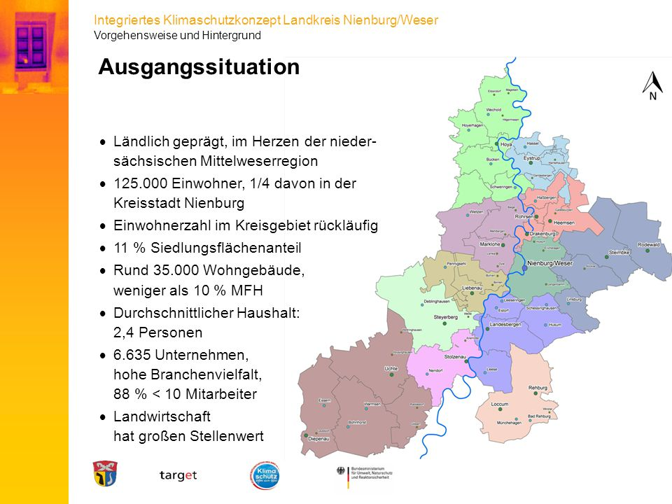 Integriertes Klimaschutzkonzept Landkreis Nienburg/Weser Ausgangssituation  Ländlich geprägt, im Herzen der nieder- sächsischen Mittelweserregion  1