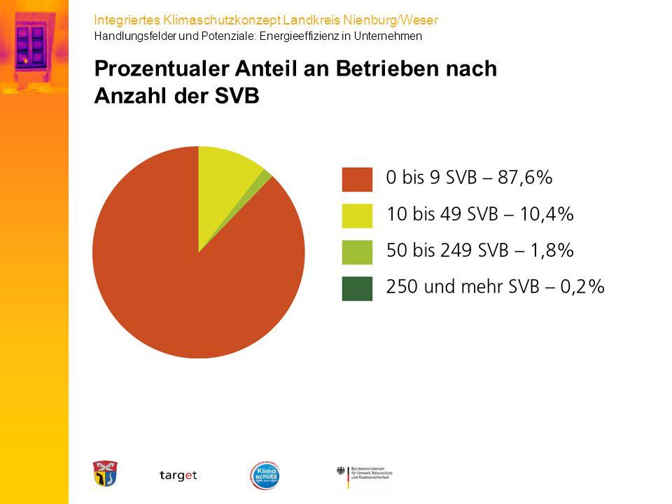 Integriertes Klimaschutzkonzept Landkreis Nienburg/Weser Prozentualer Anteil an Betrieben nach Anzahl der SVB Handlungsfelder und Potenziale: Energiee