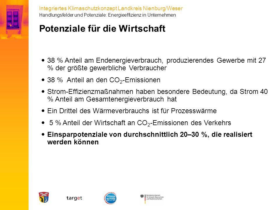 Integriertes Klimaschutzkonzept Landkreis Nienburg/Weser Potenziale für die Wirtschaft  38 % Anteil am Endenergieverbrauch, produzierendes Gewerbe mi
