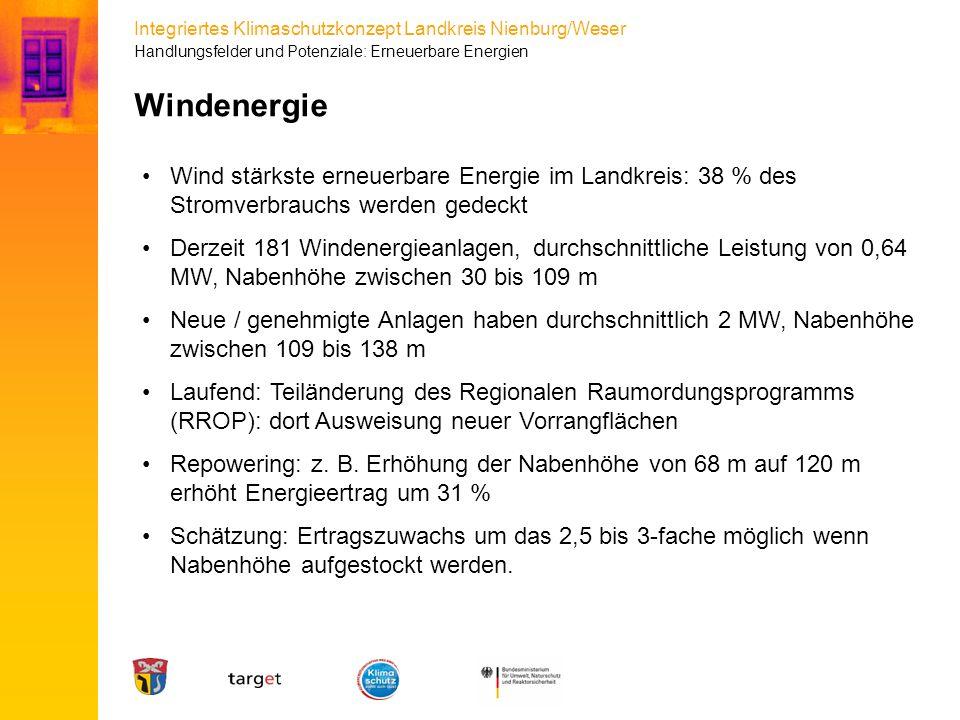Integriertes Klimaschutzkonzept Landkreis Nienburg/Weser Wind stärkste erneuerbare Energie im Landkreis: 38 % des Stromverbrauchs werden gedeckt Derze