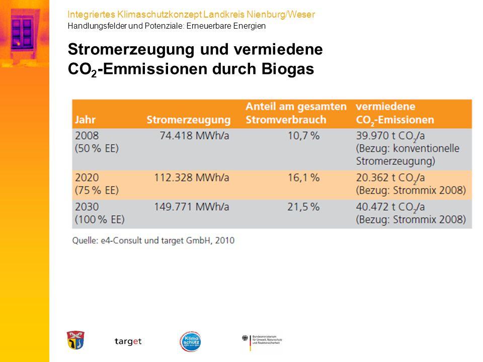 Integriertes Klimaschutzkonzept Landkreis Nienburg/Weser Stromerzeugung und vermiedene CO 2 -Emmissionen durch Biogas Handlungsfelder und Potenziale: