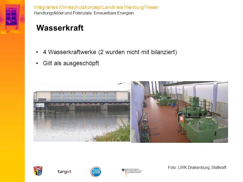 Integriertes Klimaschutzkonzept Landkreis Nienburg/Weser 4 Wasserkraftwerke (2 wurden nicht mit bilanziert) Gilt als ausgeschöpft Wasserkraft Foto: LW