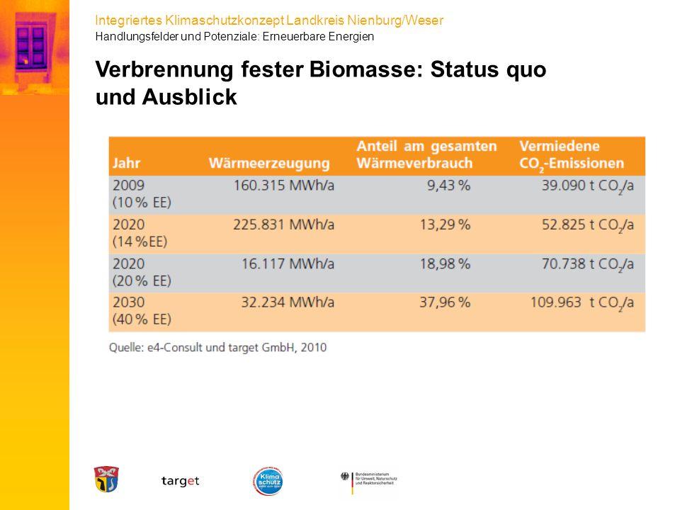Integriertes Klimaschutzkonzept Landkreis Nienburg/Weser Handlungsfelder und Potenziale: Erneuerbare Energien Verbrennung fester Biomasse: Status quo