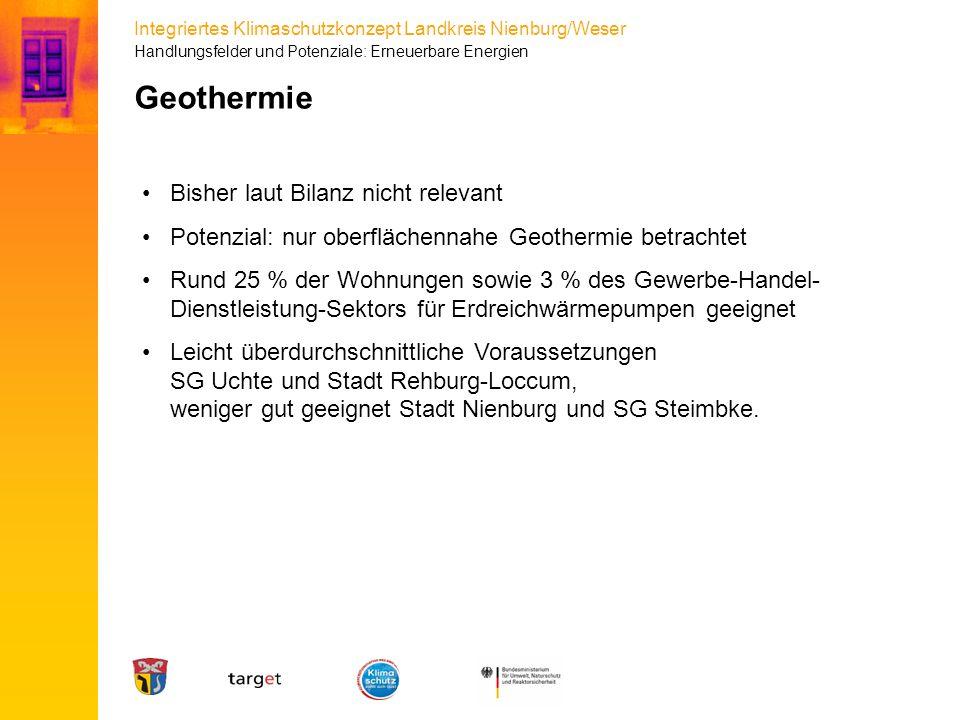 Integriertes Klimaschutzkonzept Landkreis Nienburg/Weser Bisher laut Bilanz nicht relevant Potenzial: nur oberflächennahe Geothermie betrachtet Rund 2