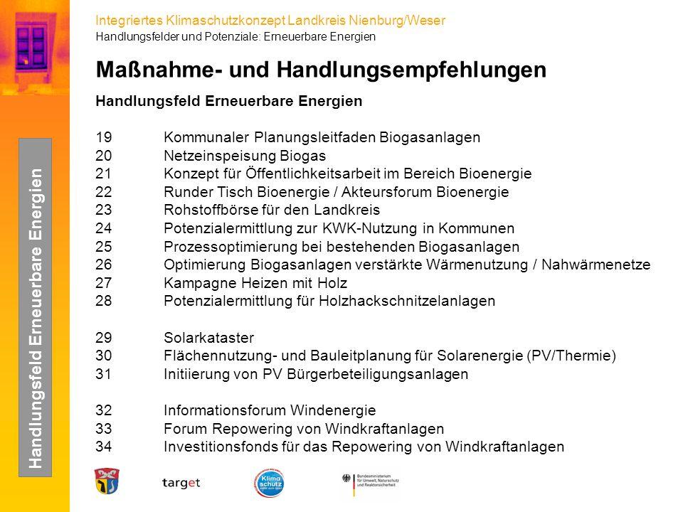 Integriertes Klimaschutzkonzept Landkreis Nienburg/Weser Maßnahme- und Handlungsempfehlungen Handlungsfeld Erneuerbare Energien 19Kommunaler Planungsl