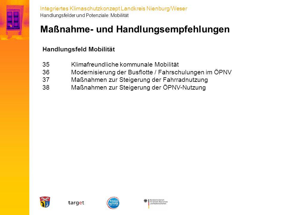 Integriertes Klimaschutzkonzept Landkreis Nienburg/Weser Maßnahme- und Handlungsempfehlungen Handlungsfeld Mobilität 35Klimafreundliche kommunale Mobi