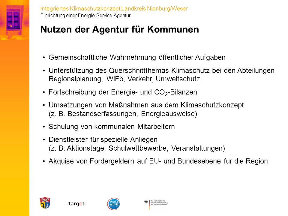 Integriertes Klimaschutzkonzept Landkreis Nienburg/Weser Nutzen der Agentur für Kommunen Gemeinschaftliche Wahrnehmung öffentlicher Aufgaben Unterstüt