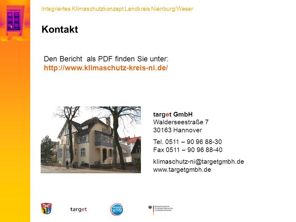 Integriertes Klimaschutzkonzept Landkreis Nienburg/Weser Kontakt target GmbH Walderseestraße 7 30163 Hannover Tel. 0511 – 90 96 88-30 Fax 0511 – 90 96