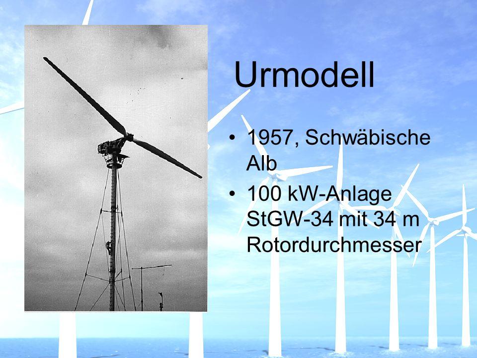 Urmodell 1957, Schwäbische Alb 100 kW-Anlage StGW-34 mit 34 m Rotordurchmesser