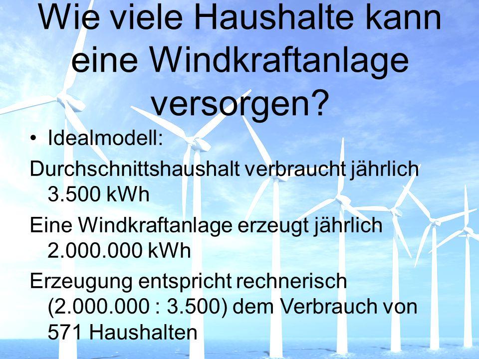 Wie viele Haushalte kann eine Windkraftanlage versorgen? Idealmodell: Durchschnittshaushalt verbraucht jährlich 3.500 kWh Eine Windkraftanlage erzeugt