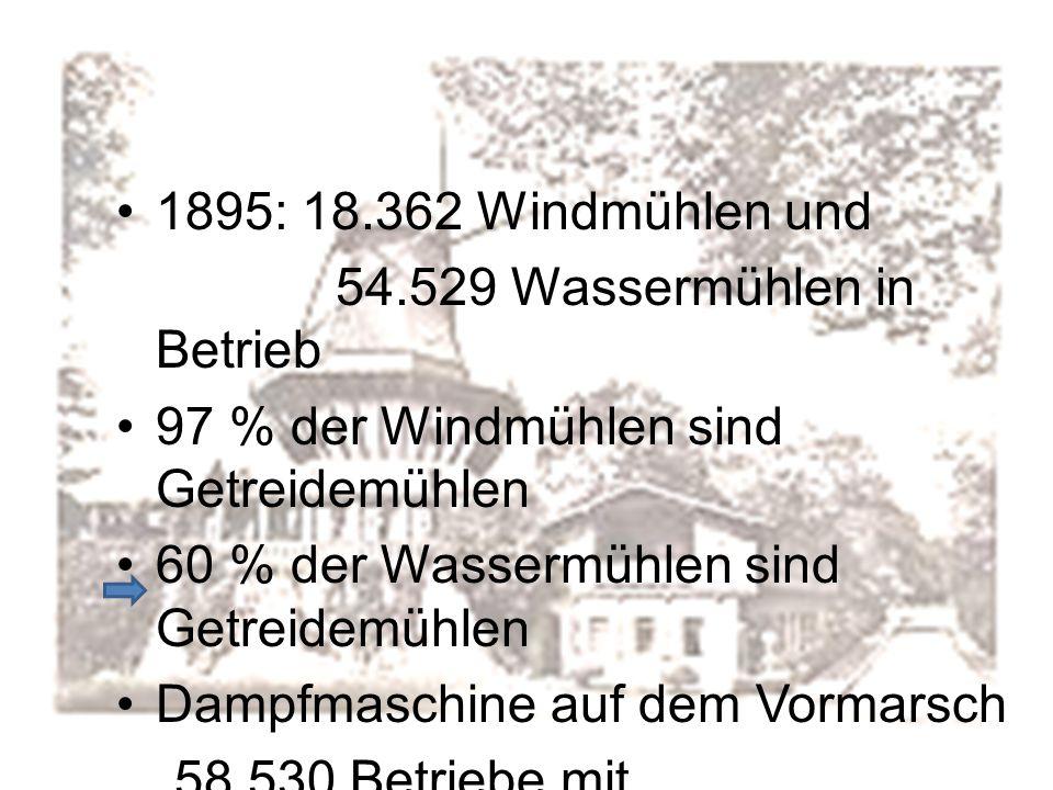 1895: 18.362 Windmühlen und 54.529 Wassermühlen in Betrieb 97 % der Windmühlen sind Getreidemühlen 60 % der Wassermühlen sind Getreidemühlen Dampfmasc